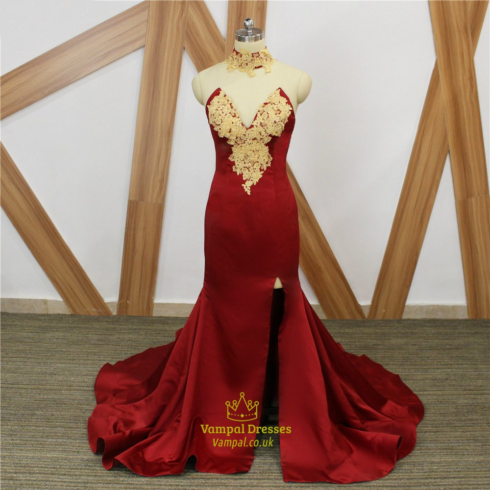 Burgundy Sweetheart Gold Lace Applique Mermaid Prom Dress
