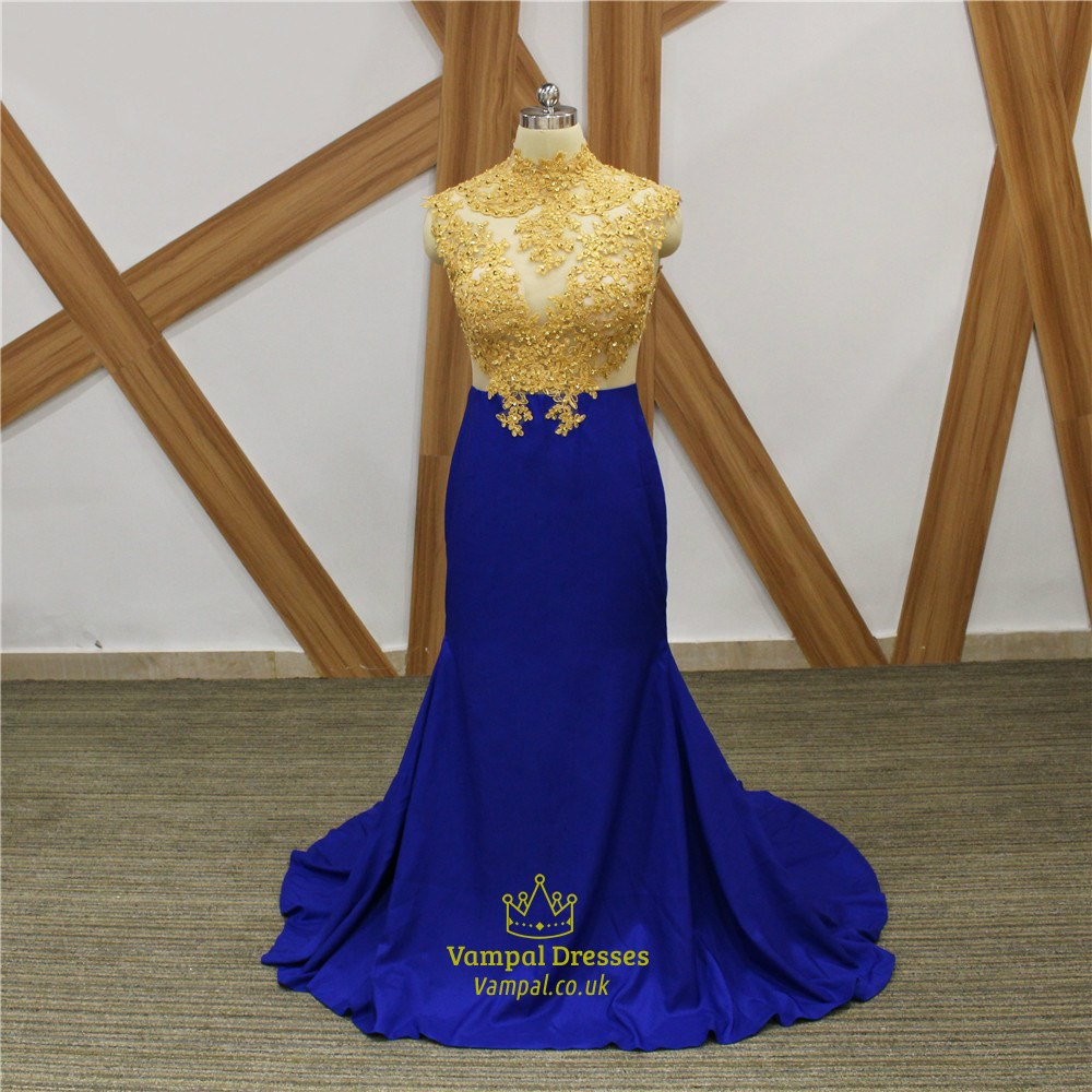 Royal Blue High Neck Beaded Gold Applique Long Prom Dress