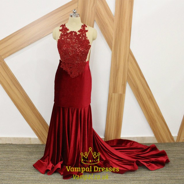 c768ac0dbb8f0 Burgundy Illusion Back Beaded Applique Pleated Plus Size Prom Dresses
