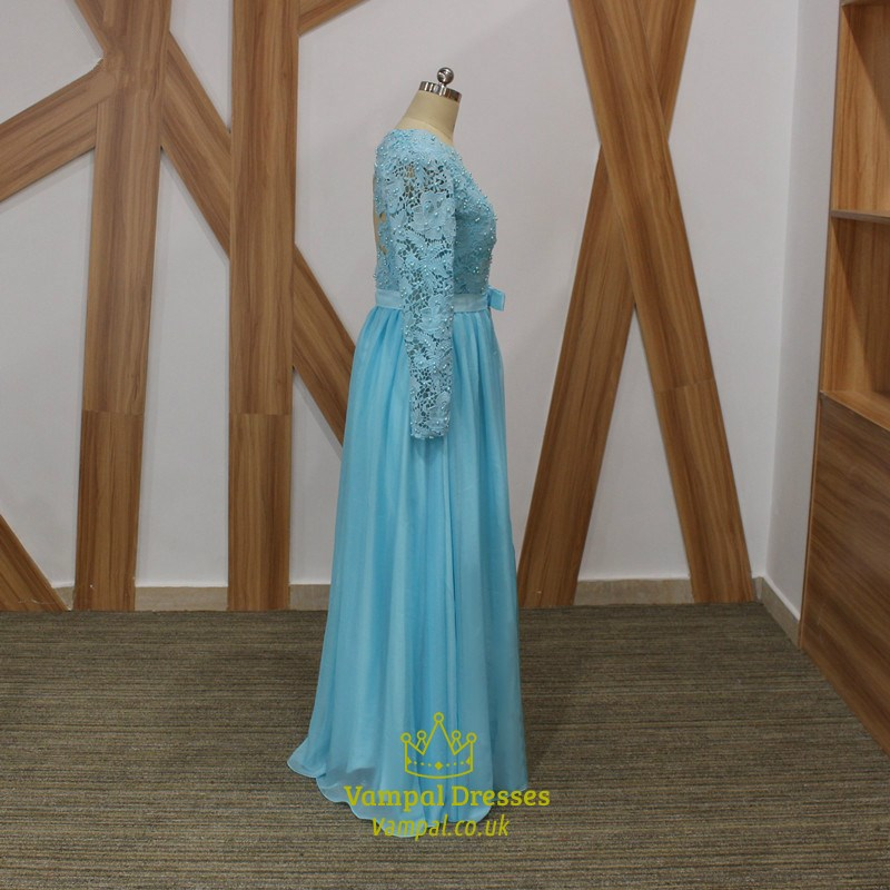 83982d6dfa375 Light Blue Long Sleeve Beaded V Neck Keyhole Back Chiffon Prom Dress SKU  -C121