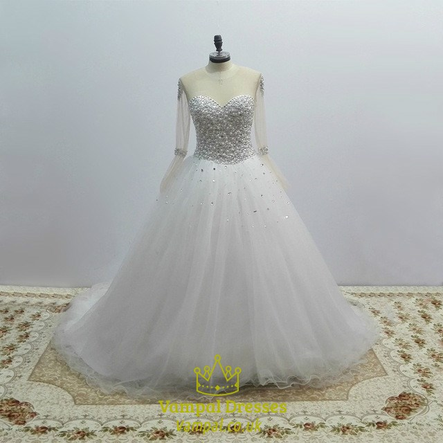 c0ad67ee15aff White Jewel Long Sleeve Beaded Keyhole Tulle Wedding Dress With Train SKU  -C136