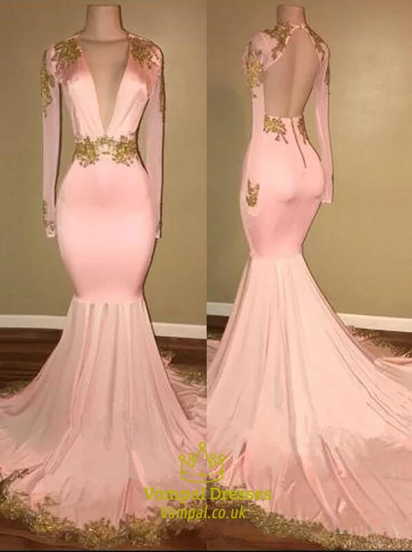 Pink Deep V Neck Gold Lace Applique Mermaid Prom Dress