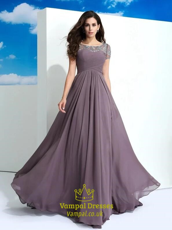 Grey Purple Bateau Short Sleeve Beaded Ruched Floor Length