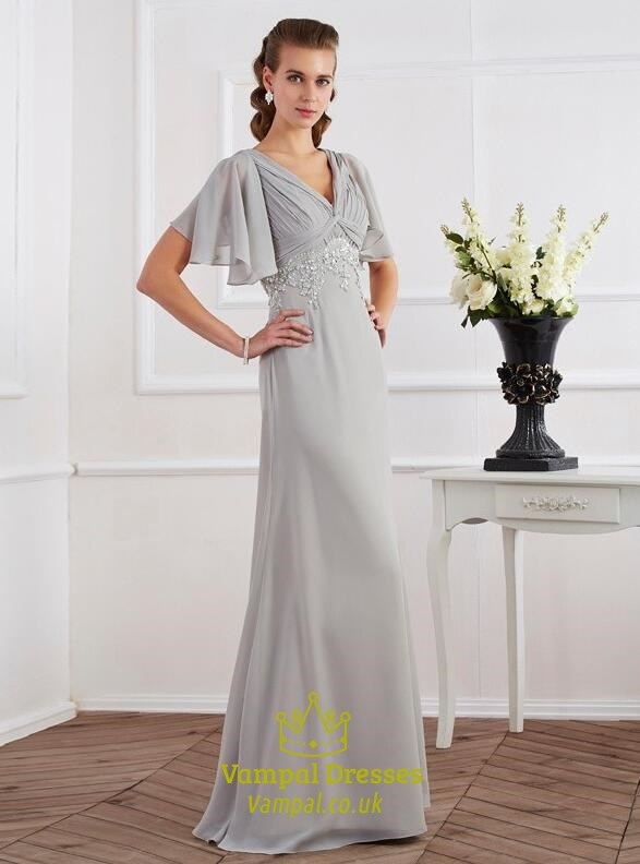 Grey Short Sleeve Lace Applique Ruched Empire Waist Long