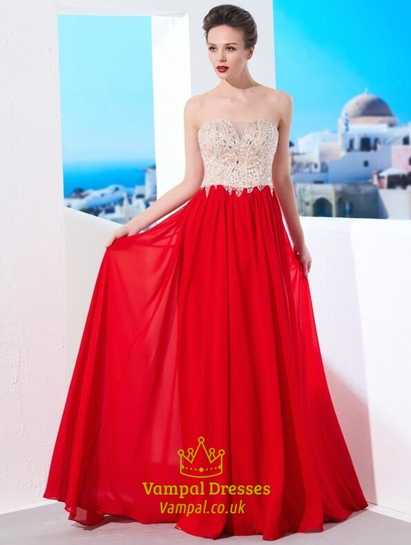 Red Sweetheart Neckline Beaded Applique Pleated Chiffon Prom Dress ...