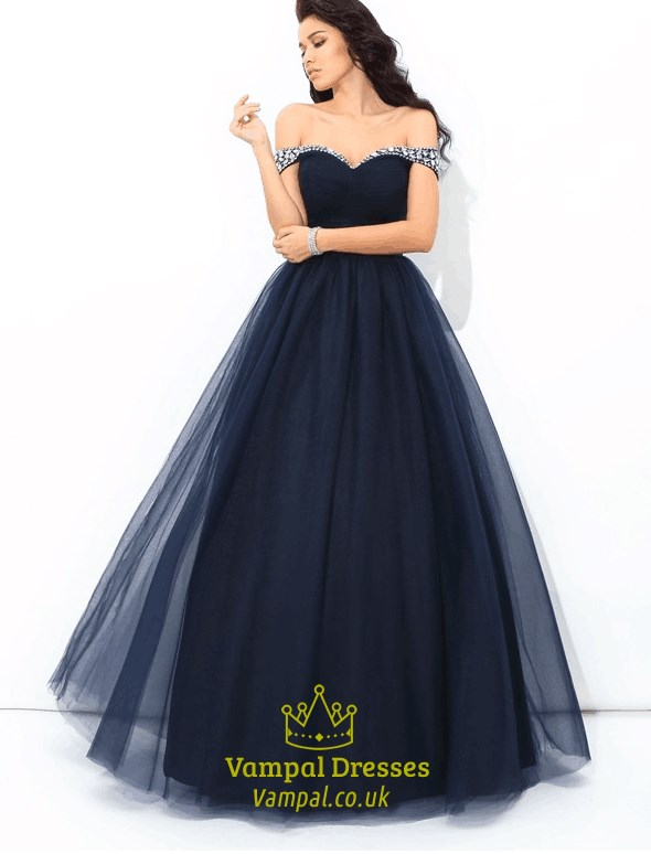 837287bce9b Dark Blue Off The Shoulder Cap Sleeve Crystal Beaded Tulle Prom Dress SKU  -C219