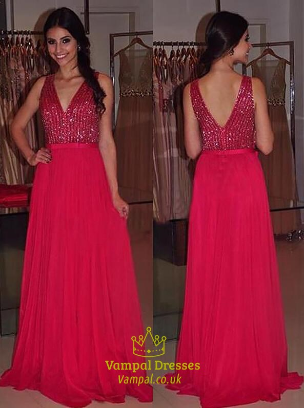 Red V Neck Sleeveless Sequin Top Chiffon Floor Length Prom Dress SKU -C223 4545acee2