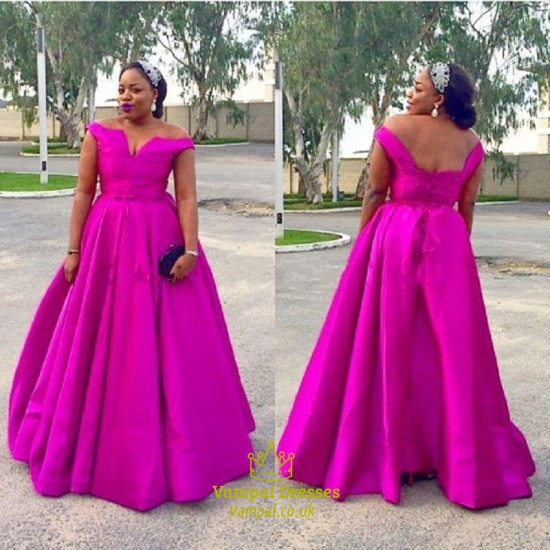 Simple A Line Hot Pink Sleeveless Floor Length Plus Size Prom Dress