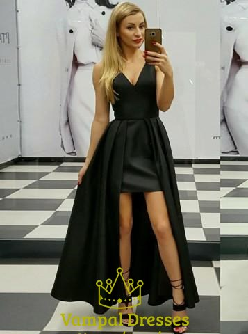 Elegant A Line Black V Neck Pleated Satin High Low Prom Dress