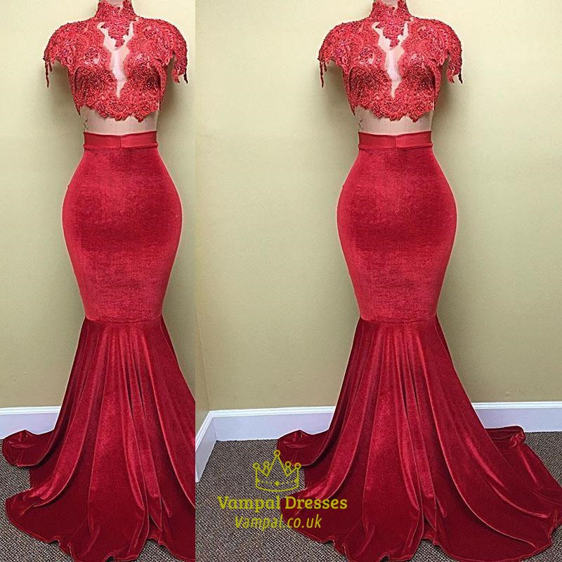 e9cba2838d664 Red High Neck Applique Cap Sleeve Velvet Mermaid Two Piece Prom Dress SKU  -C271