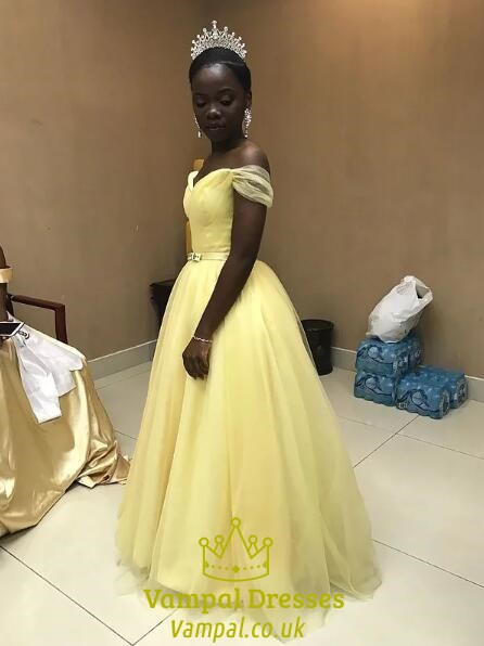 Yellow Off The Shoulder Cap Sleeve Floor Length Tulle Prom