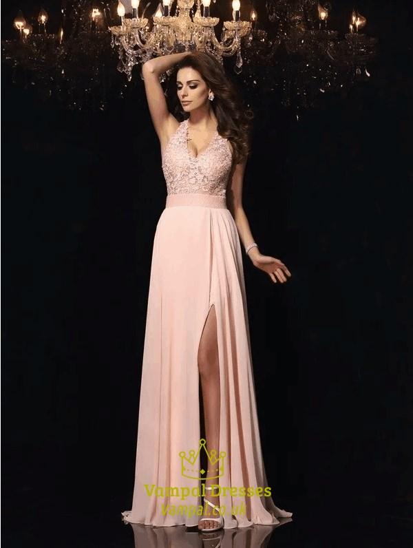 e521892695cc Blush Pink A Line V Neck Applique Chiffon Long Prom Dress With Split SKU  -C300