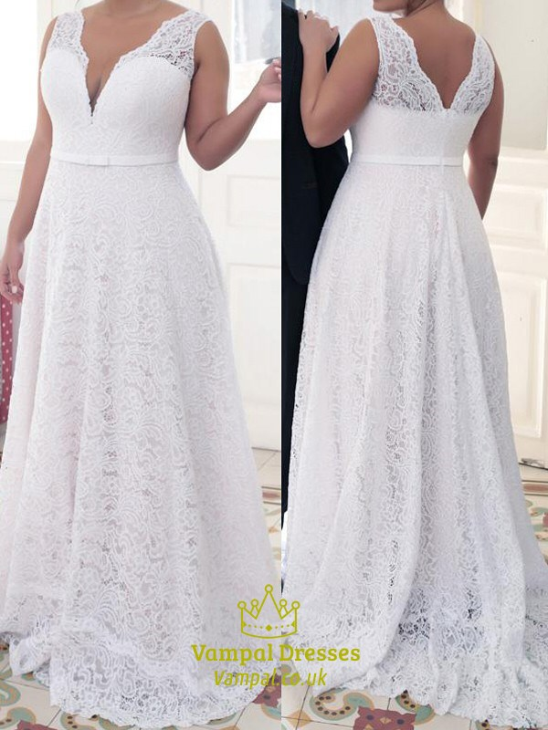 Simple A Line White V Neck Sleeveless Plus Size Lace Prom ...