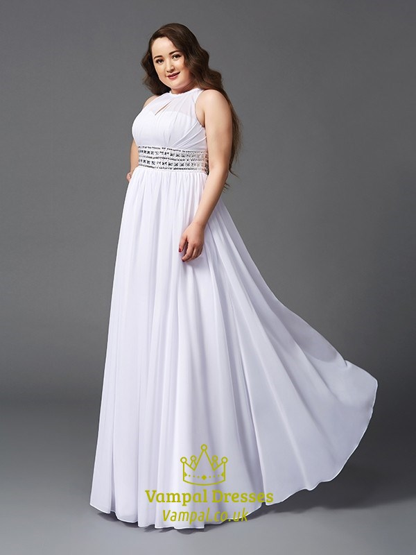 White Jewel Neck Pleated Chiffon Plus Size Prom Dress With Beading SKU -C318
