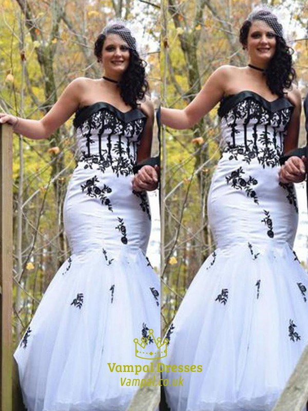 a840a8af48fd White Sweetheart Sleeveless Mermaid Prom Dress With Black Applique SKU -C339