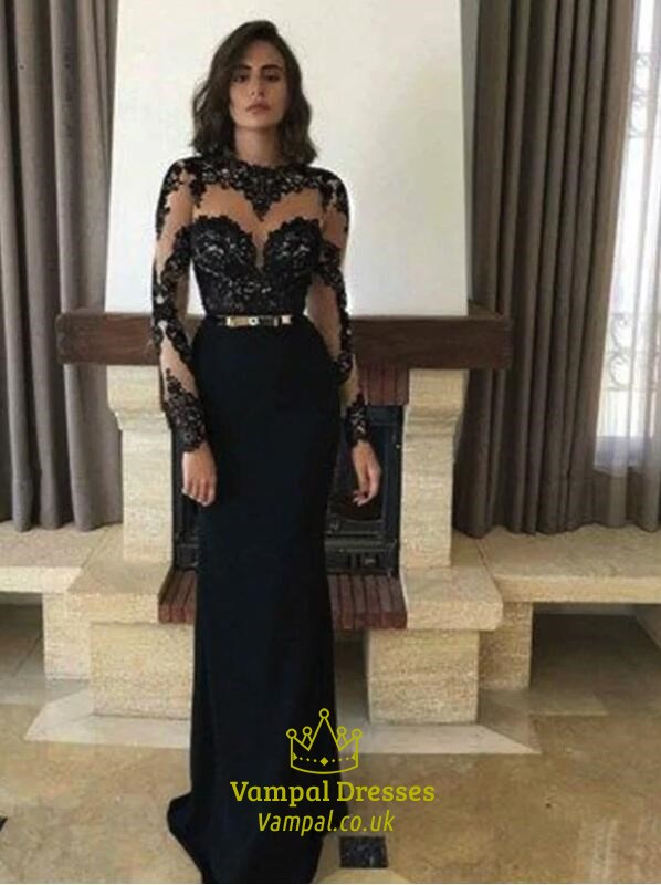 e923cbb7c542 Black High Neck Long Sleeve Applique Keyhole Sheath Prom Dress SKU -C346