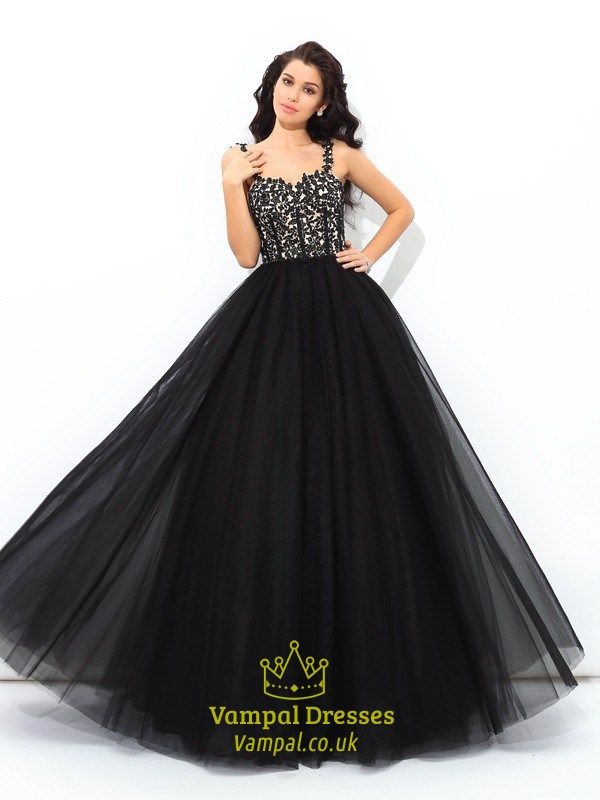 6a162e6f6cc Elegant A Line Black Square Neck Sleeveless Applique Tulle Prom Dress SKU  -C458