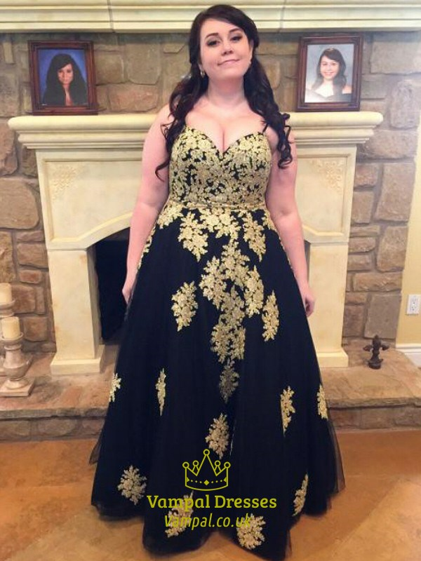 Black Spaghetti Strap Plus Size Tulle Prom Dress With Gold Applique ...