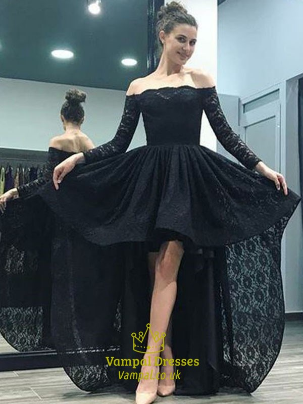 Elegant Black Off The Shoulder Long Sleeve Lace High Low Prom Dress