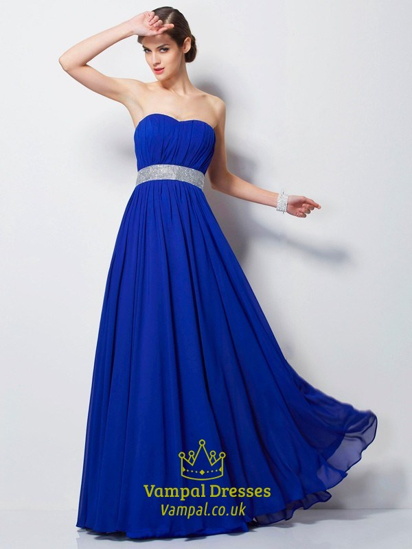 Royal Blue Strapless Sleeveless Pleated Prom Dress With