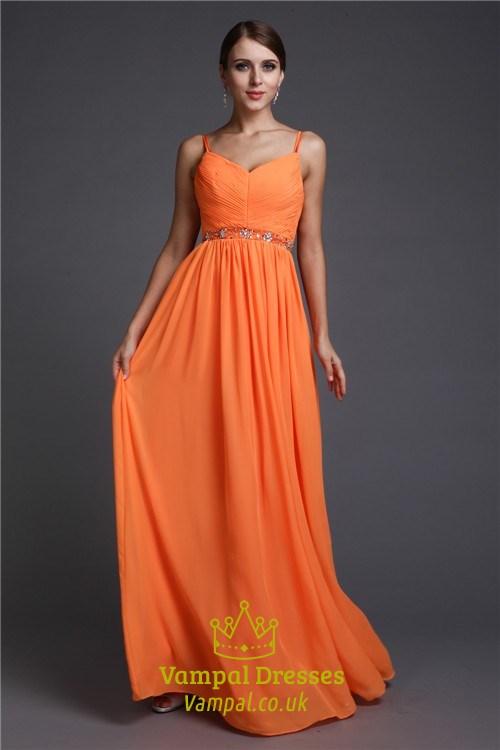6fa6e9c11f3c5 Spaghetti Strap Sleeveless Ruched Bodice Beading Chiffon Prom Dress SKU  -C505