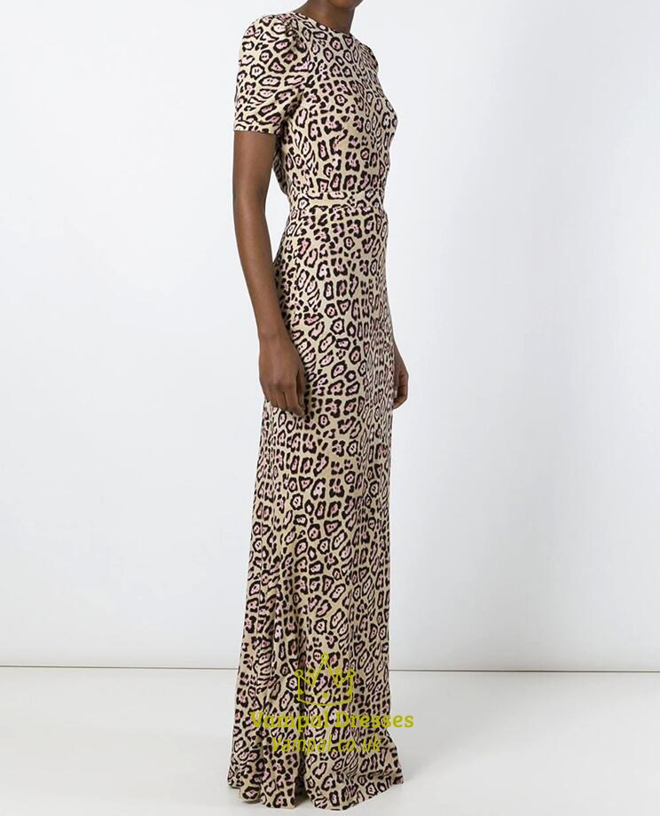 Simple High Neck Short Sleeve V Back Leopard Print Long Prom Dress SKU -C526 684e49a00