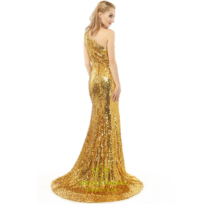 eaf2cf95e2b Yellow One Shoulder Sleeveless Sequin Long Prom Dress With Train ...