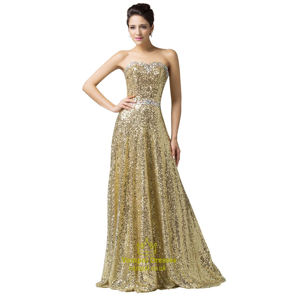 A Line Strapless Sleeveless Rhinestone Sequin Prom Dress With Lace ...