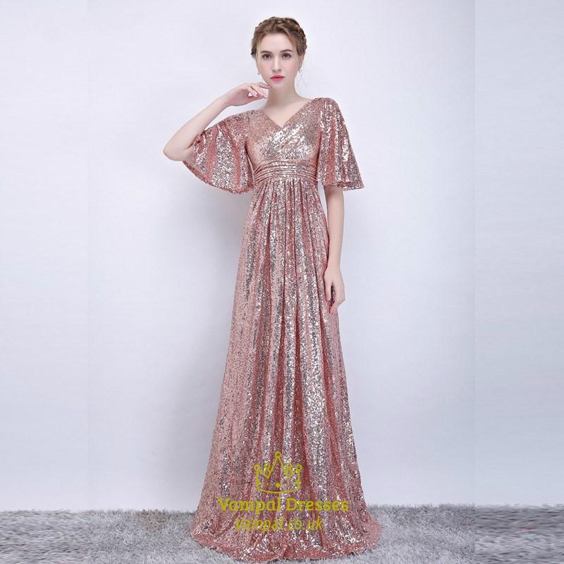 A Line Blush Pink V Neck Flutter Sleeve Ruched Sequin Prom