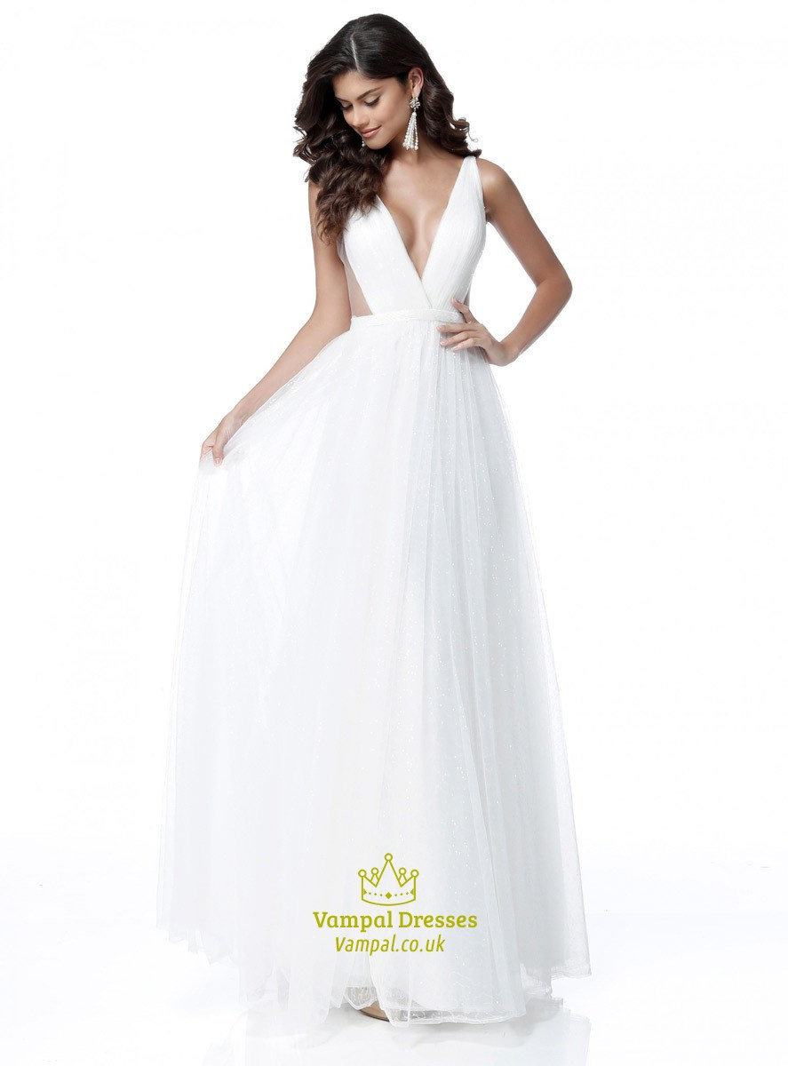 6c3164837e1c Simple A Line White Deep V Neck Sleeveless Tulle Prom Dress | Vampal ...