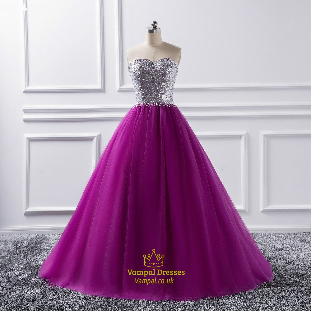 Purple Sweetheart Sleeveless Beaded Tulle Ball Gown Prom