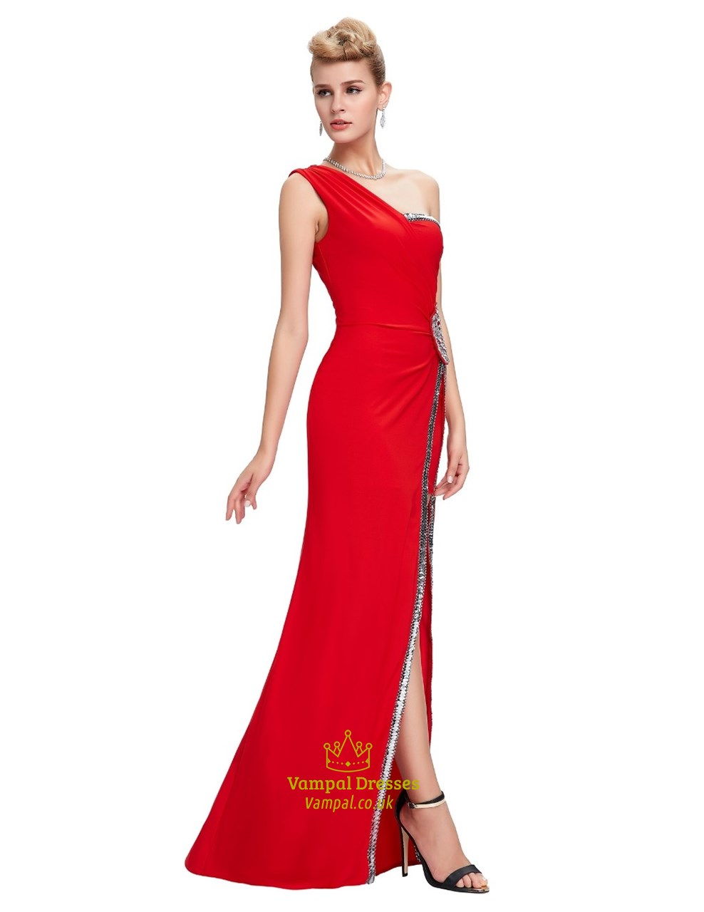red one shoulder beaded ruched chiffon long prom dress