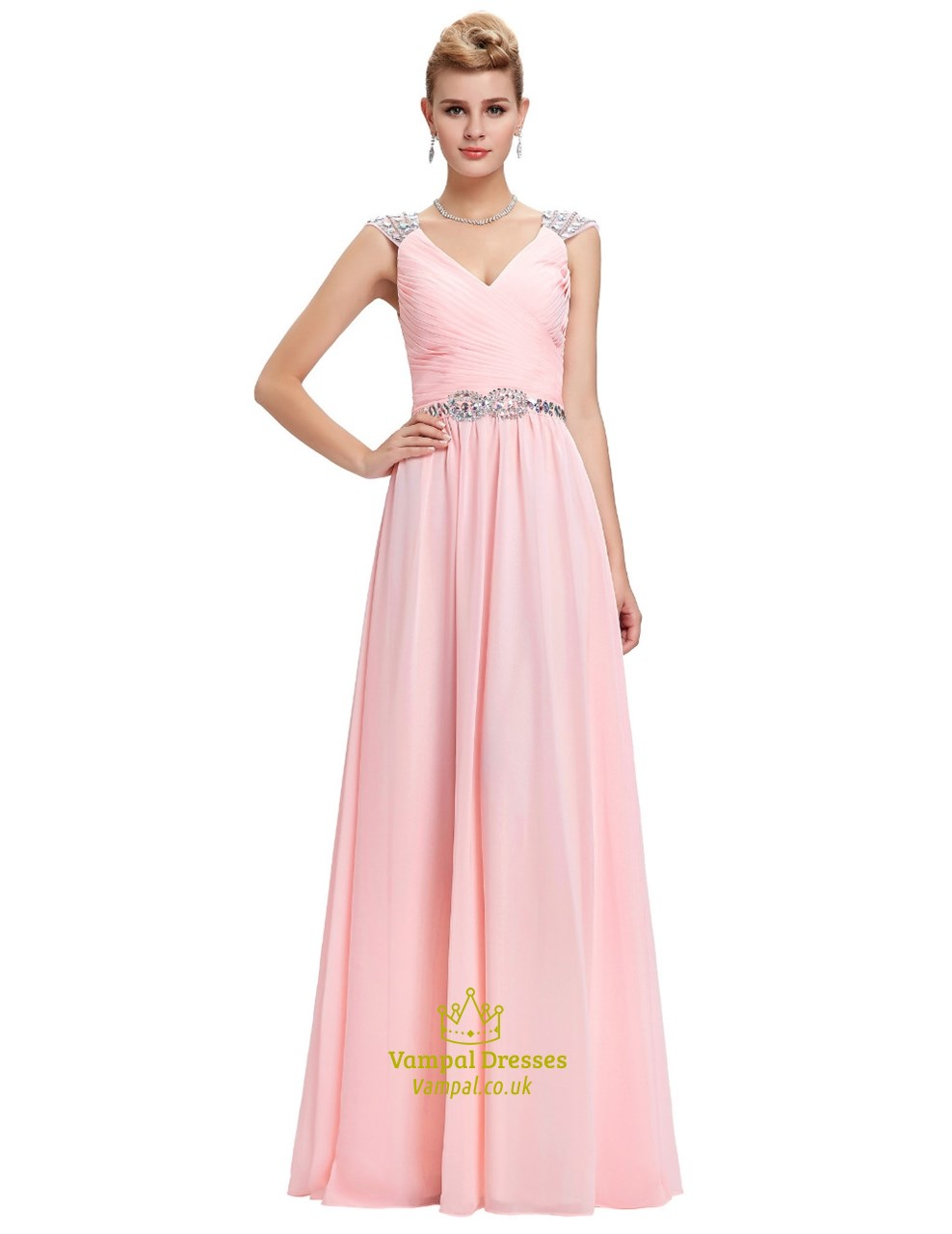 Pink A Line V Neck Cap Sleeve Crystal Ruched Chiffon Prom Dress ...