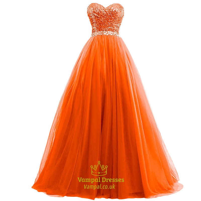 Orange Sweetheart Ruched Ball Gown Tulle Prom Dresses With Sequin ...