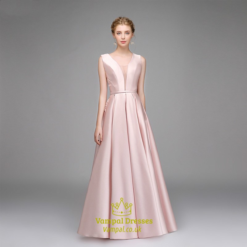 f1f7b092b45 Simple A Line Pink V Neck Sleeveless Pleated Satin Prom Dress SKU -C593
