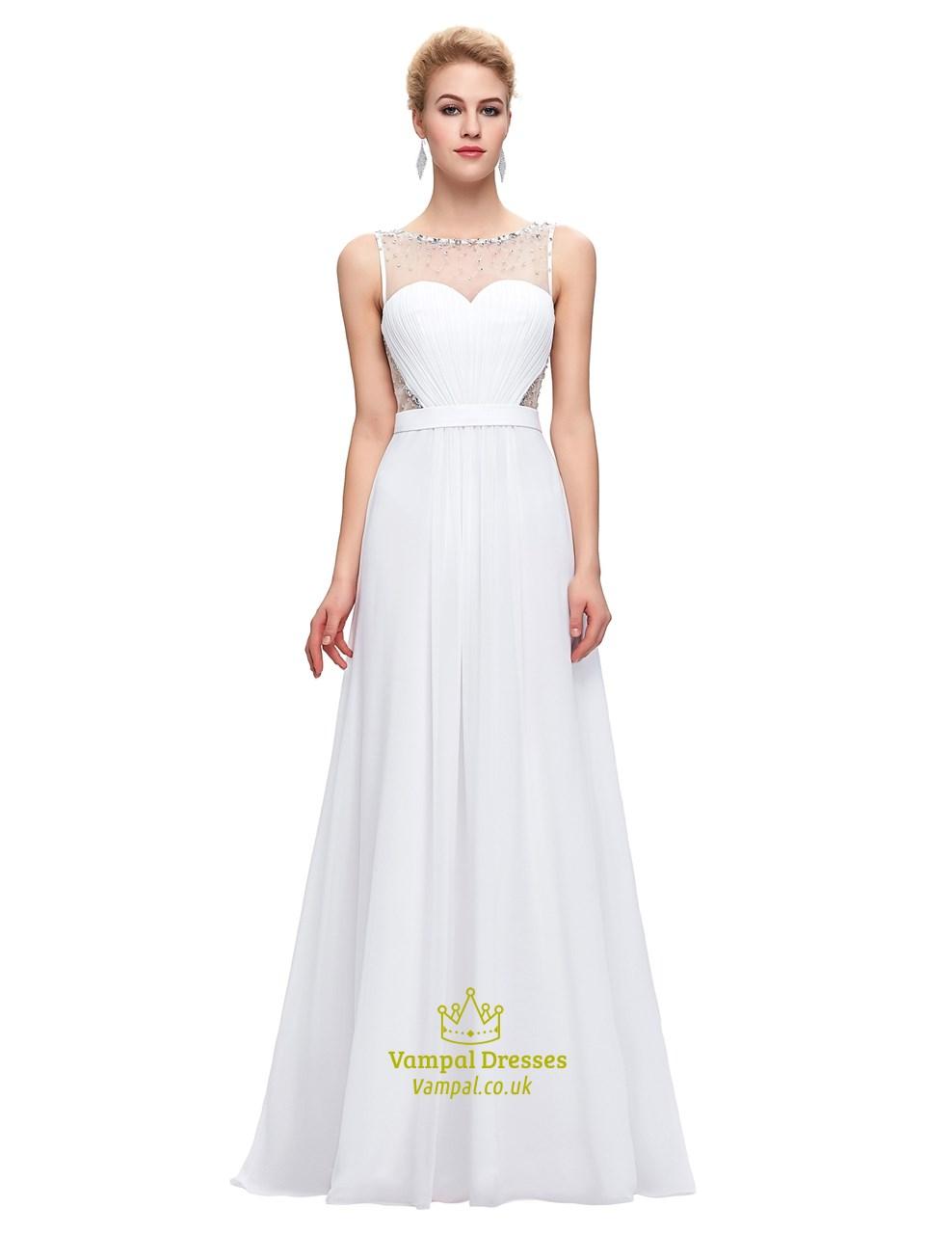 7930850801b White Bateau Illusion Back Beaded Ruched Waist Chiffon Prom Dress SKU -C557