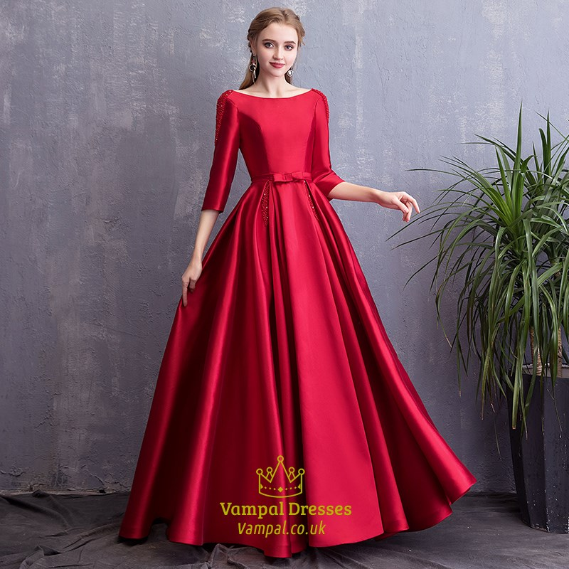 Elegant Bateau Neck 3 4 Sleeves Beaded Satin Prom Dress With Pockets SKU  -C549 d61a44445