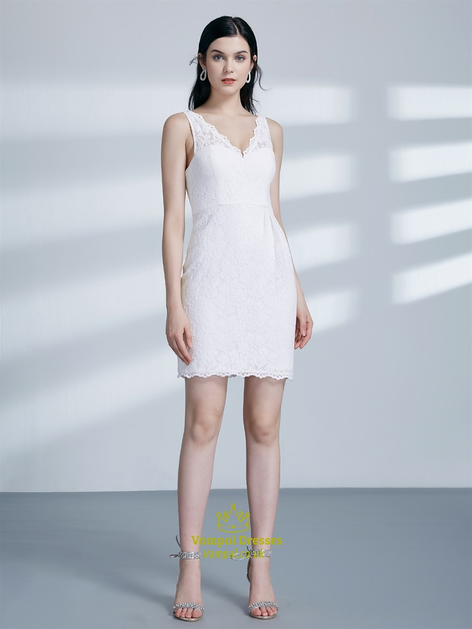 cb1ce93b5d2 Simple White V Neck Sleeveless Sheath Lace Overlay Short Prom Dress SKU  -C602