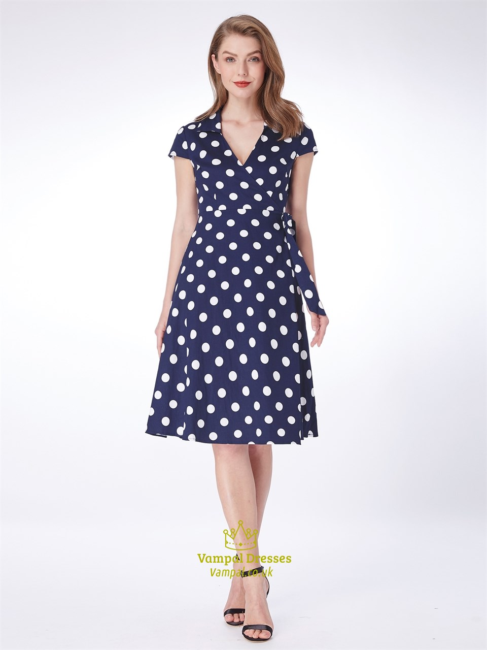 A Line Navy Blue V Neck Short Sleeve Polka Dot Dress With