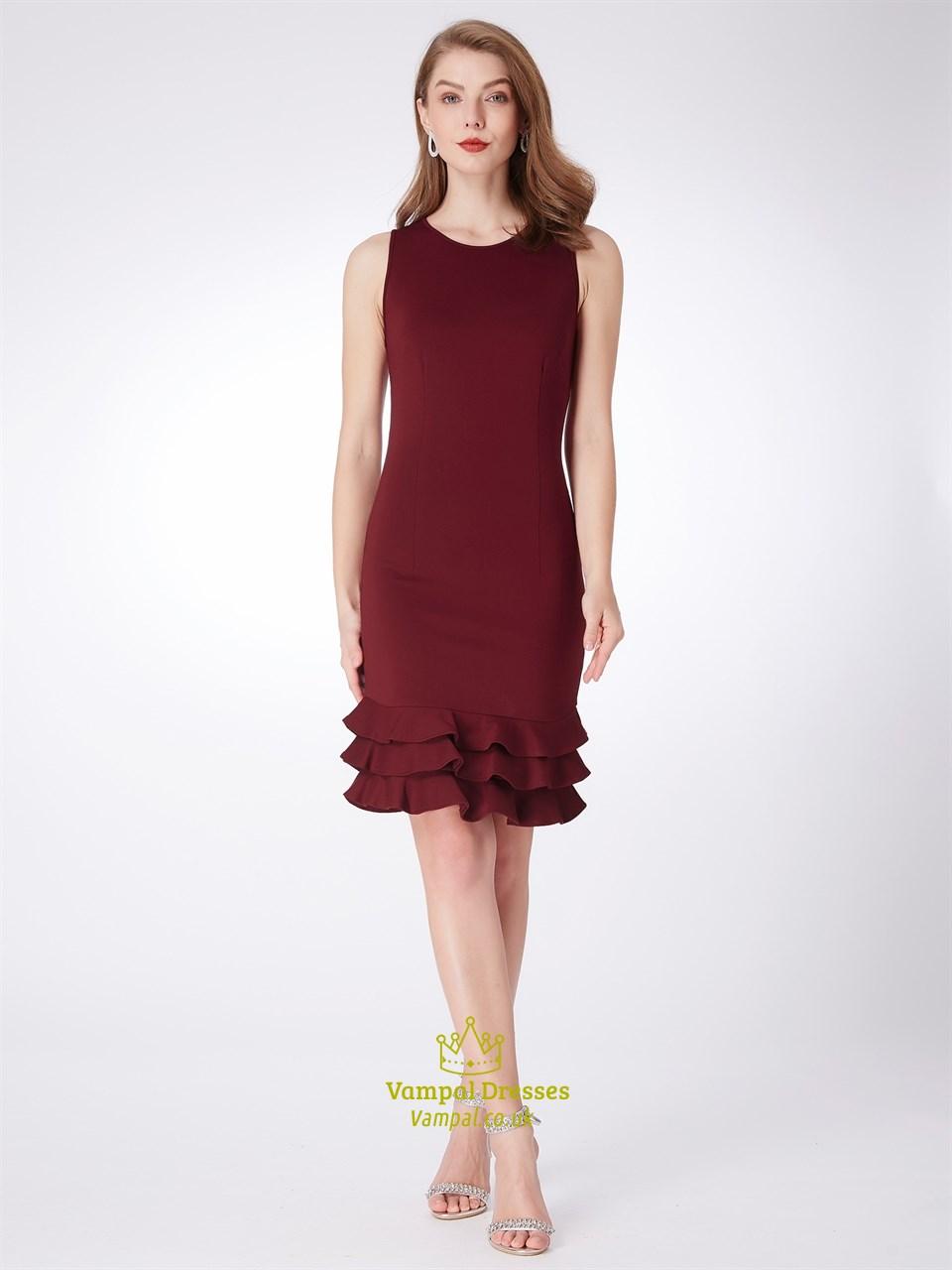 Simple Burgundy Jewel Neck Sleeveless Sheath Short Dress