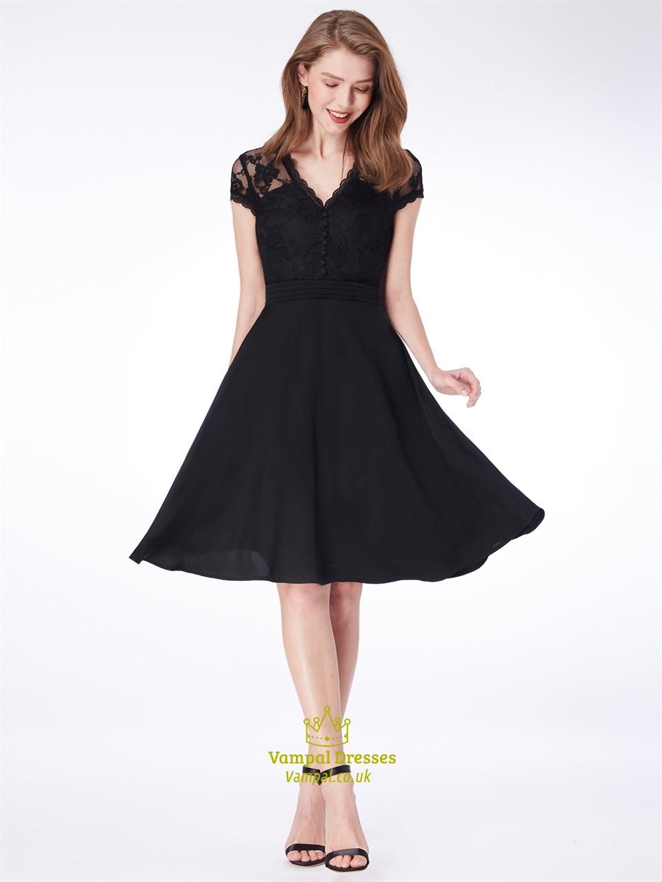 af8eb146530 Simple A Line Black V Neck Short Sleeve Short Dress With Appliques SKU -C611