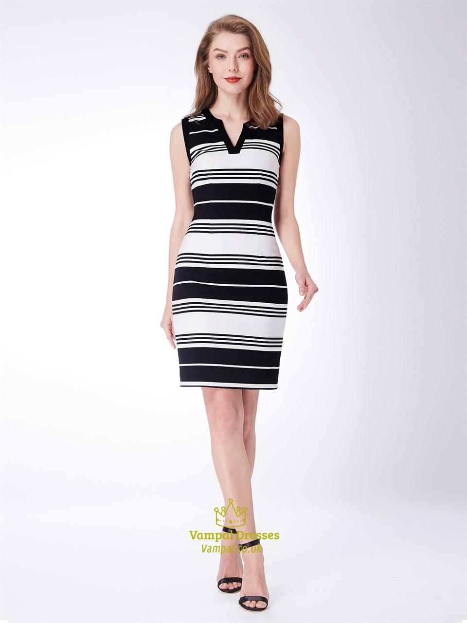 Black And White V Neck Sleeveless Sheath Knee Length Striped Dress SKU -C619 48a4a079b