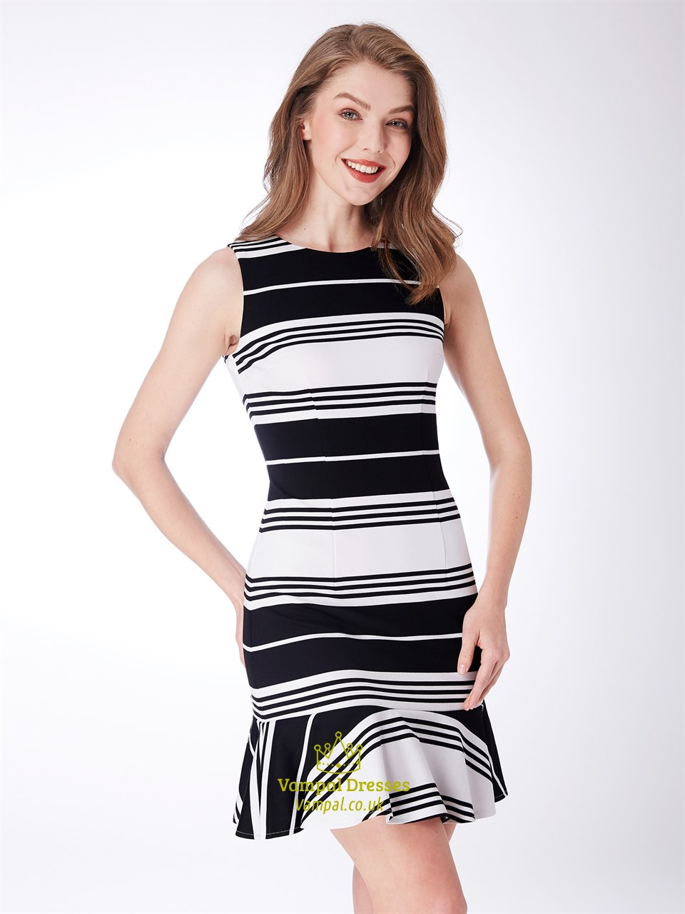 High Neck Sleeveless Sheath Black And White Knee Length Striped Dress 0cd2ce0c5