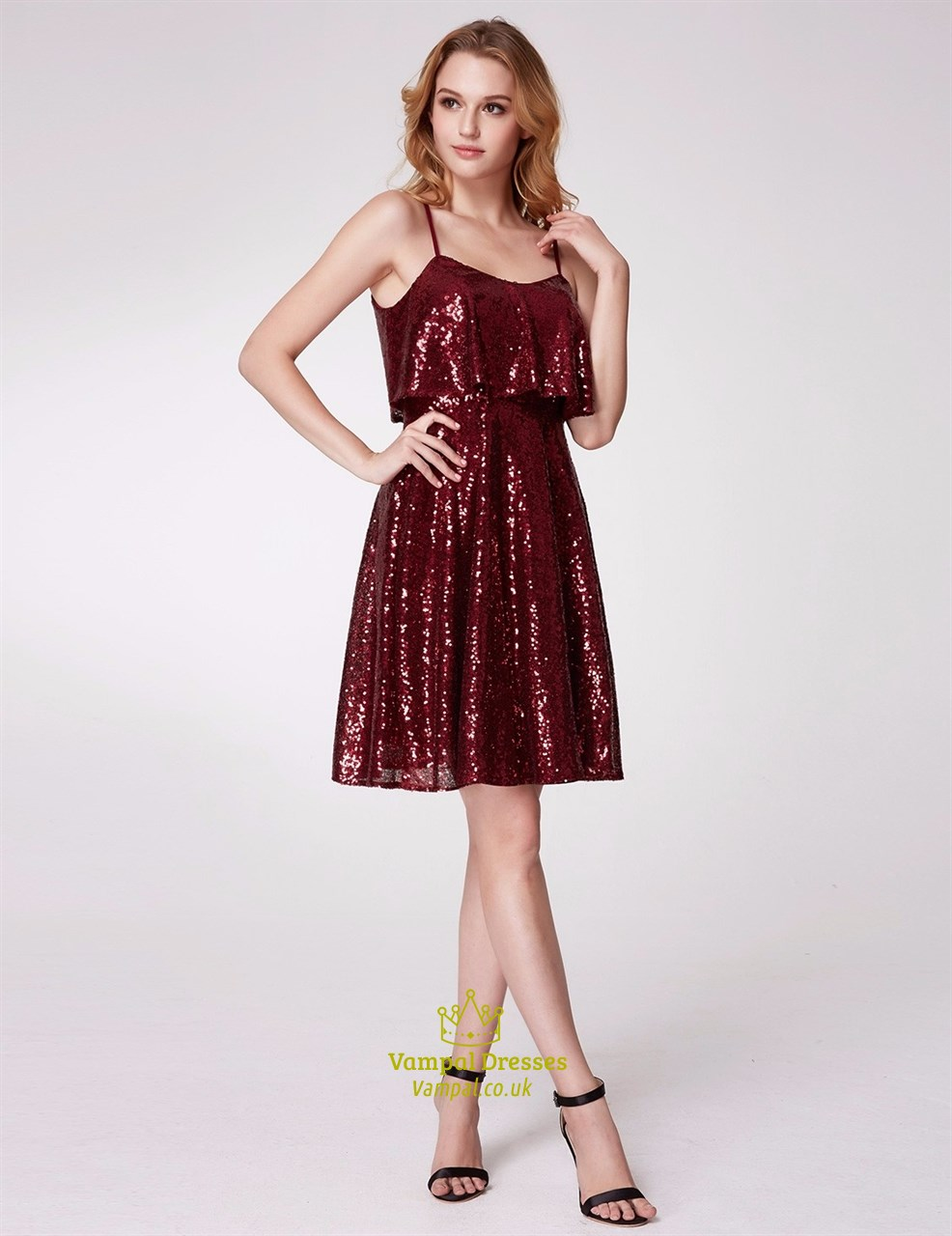 A Line Burgundy Spaghetti Strap Sequin Short Prom Dress With Ruffle ...