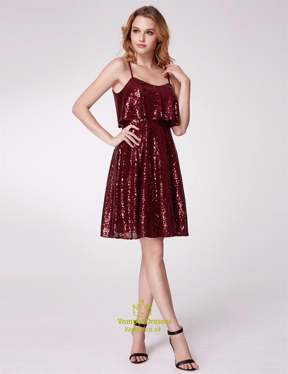 b2c70a93ddc A Line Burgundy Spaghetti Strap Sequin Short Prom Dress With Ruffle SKU  -C624