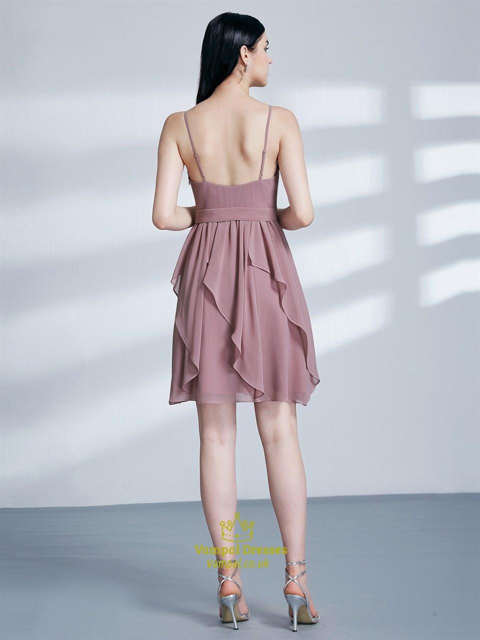 A Line Spaghetti Strap Ruched Chiffon Short Prom Dress