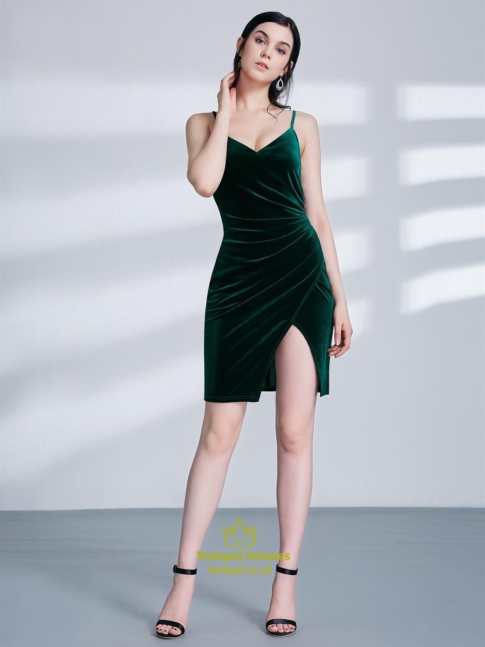 Emerald Green Spaghetti Strap Ruched Sheath Velvet Dress With Split Vampal Dresses