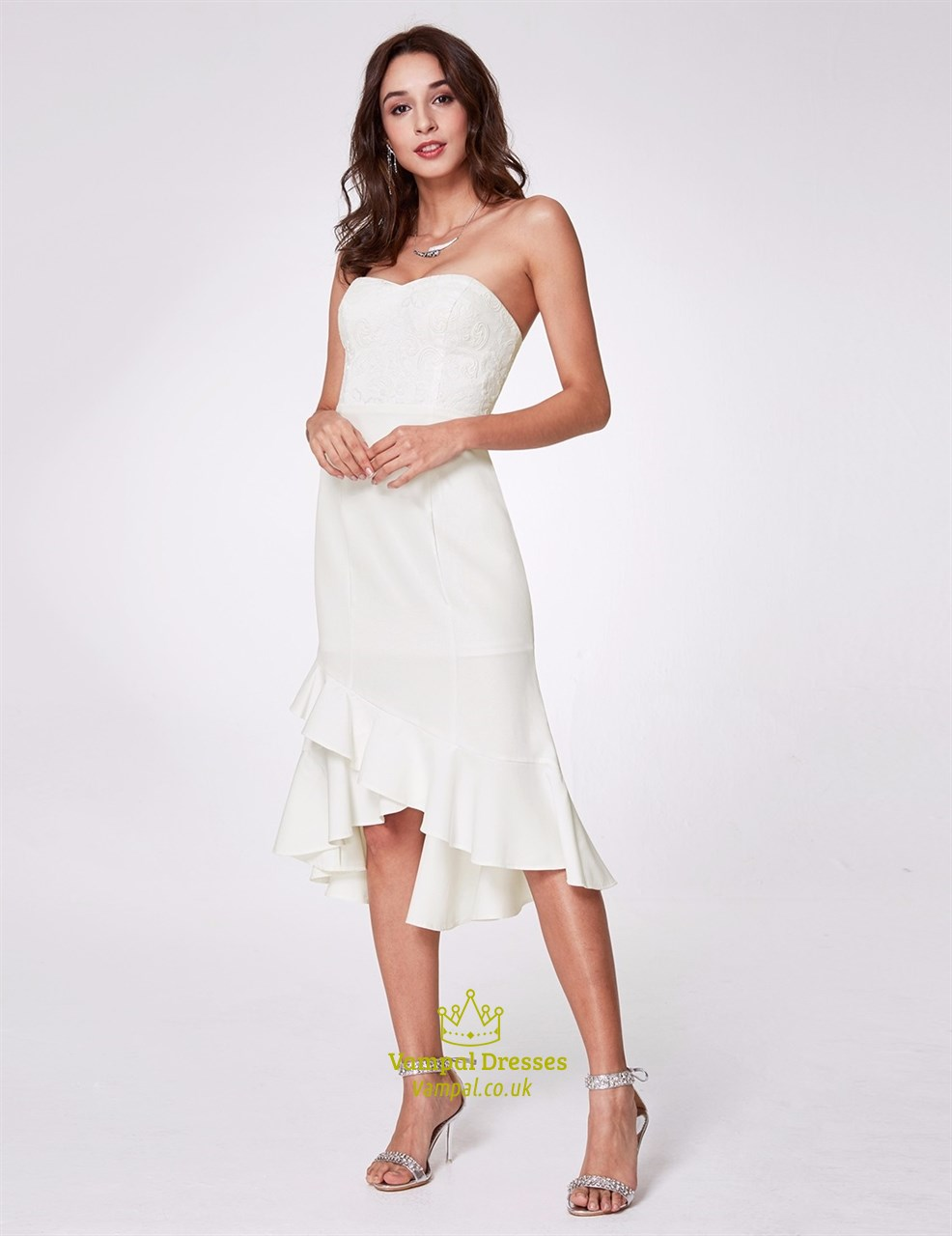 2fae565223a5 White Strapless Asymmetrical Ruffle Hem Sheath Dress With Sequins SKU -C657