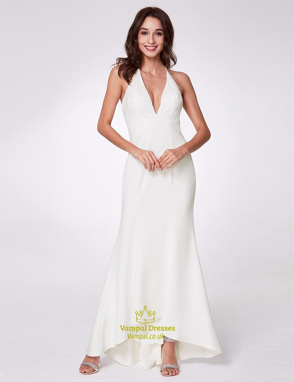 016f125b3190af Halter Neck Sleeveless Asymmetrical Hem Long Prom Dress With Sequins SKU  -C661