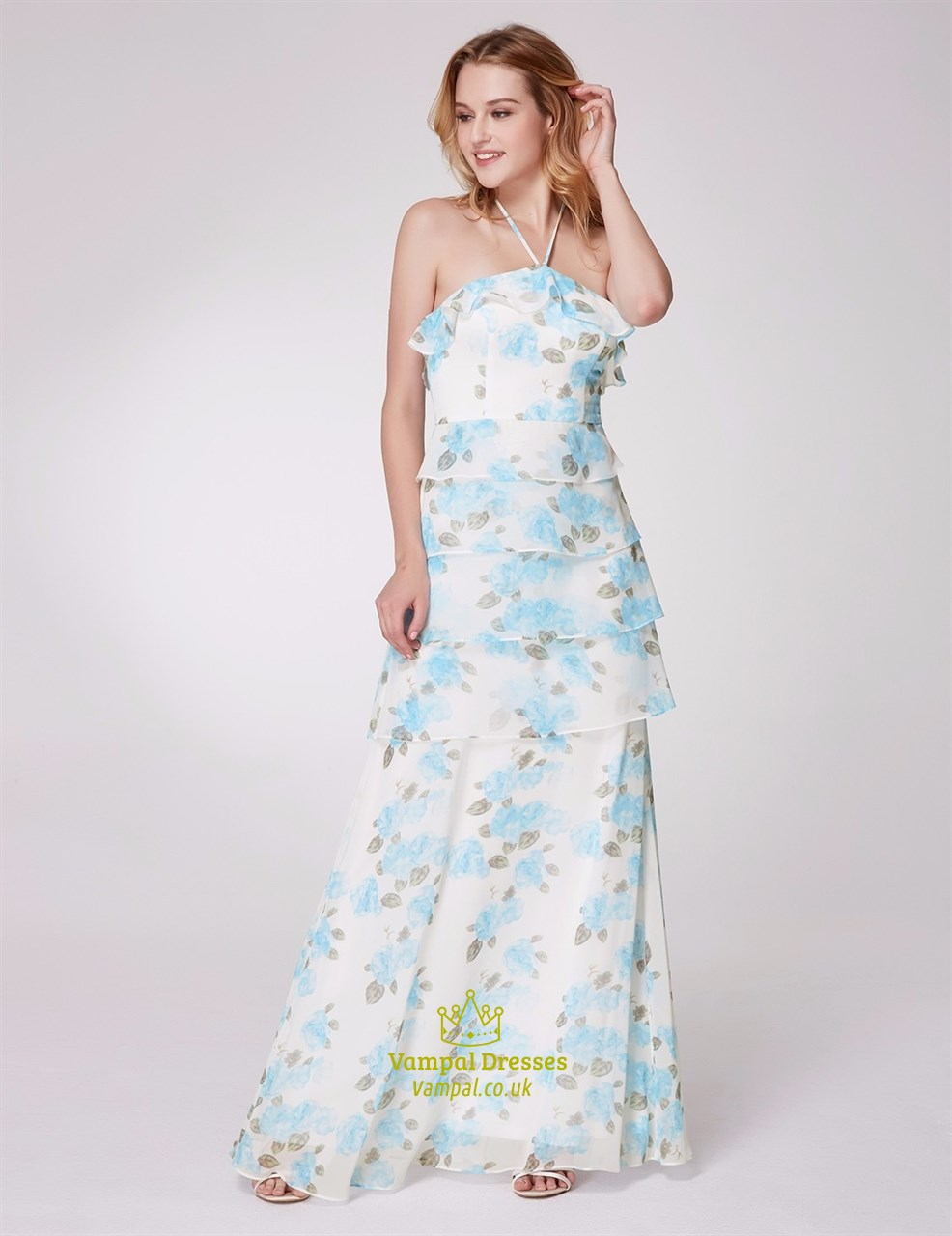 35ad073c2 Light Blue Halter Neck Sleeveless Tiered Ruffle Chiffon Floral Print ...